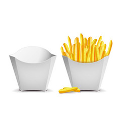 french fries white empty blank paper bag vector image vector image