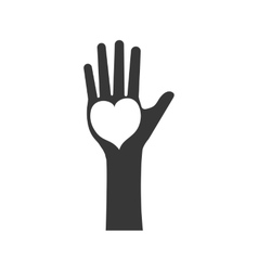 Hand heart human help gesture fingers palm icon vector