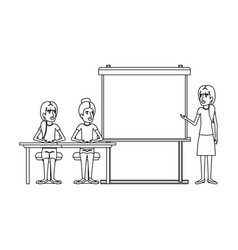 Monochrome background with pair of women sitting vector