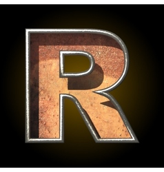 Old metal letter r vector