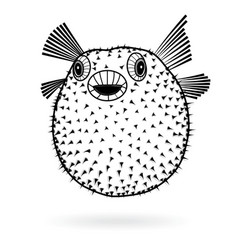 Puffer fish fugu silhouette sharp icon vector
