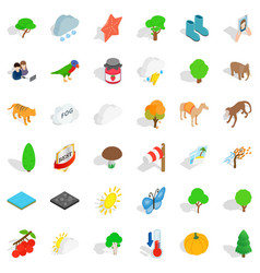 Scenery icons set isometric style vector