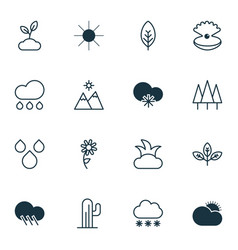 Set of 16 harmony icons includes sunny weather vector