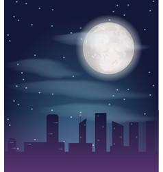 silhouette of night city buildings dark vector image vector image