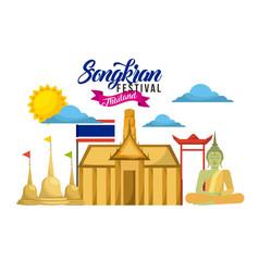 songkran festival thailand card landmark buddha vector image