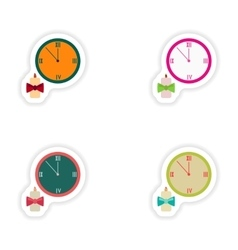 Stylish concept paper sticker watch christmas vector