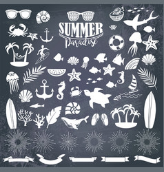 Summer vintage silhouettes vector