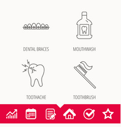 Toothache dental braces and mouthwash icons vector