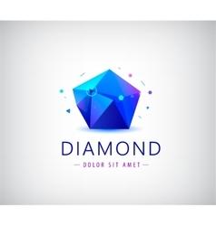 Trendy flat design facet crystal gem shape logo vector