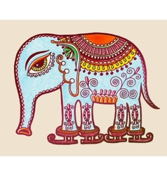 Tribal elephant ice skating ornamental marker vector