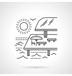 Tropical resort flat line icon vector image vector image