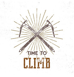 Vintage adventure label time to climbing vector