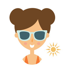 Woman smiling in dark glasses enjoying the sun vector