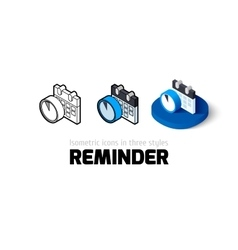 Reminder icon in different style vector