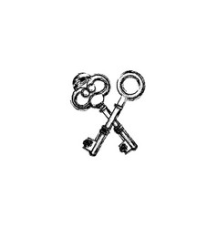 contour old keys icon stock vector image