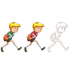 Rugby player in three different drawing styles vector