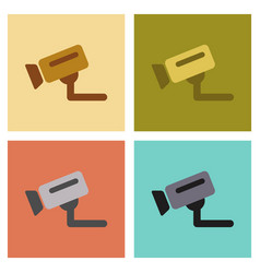 assembly flat icons security camera vector image