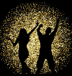 Silhouettes of people dancing on gold glitter vector