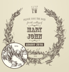 Wedding invitation engraving floral wreath vector