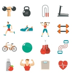 Fitness icon flat set vector