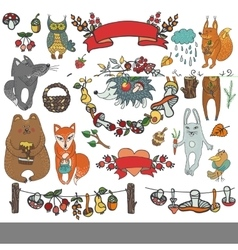 Wild animals decor elementswoodlandautumn vector