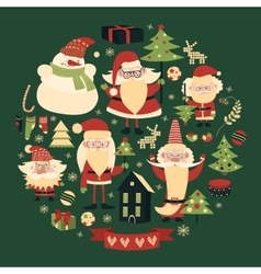 Collection of christmas items vector