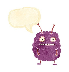 cartoon funny alien monster with speech bubble vector image