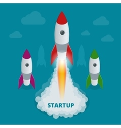 Startup flat 3d isometric style technology vector image