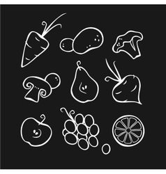 Vegetables and fruits part 1 white outlines vector