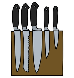 Set of kitchen knives vector