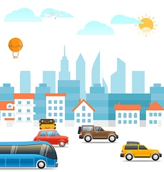 Different vehicles on a road Vacation traffic vector image