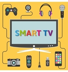 Smart tv with connected digital devices vector