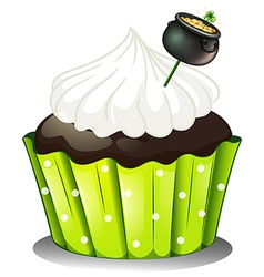 A chocolate cupcake with white icing and a pot of vector image vector image