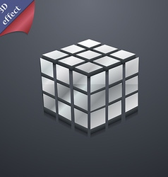 A three sided cube puzzle box in 3d icon symbol 3d vector