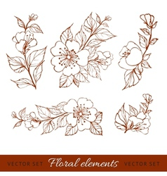 Abstract flower set vector image vector image