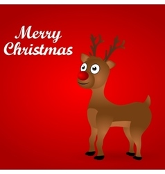 Cheerful cartoon reindeer on a red background vector image