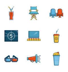 cinematography icons set cartoon style vector image