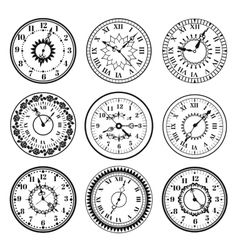 Clock watch alarms black icons vector image