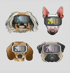 Dog wearing virtual reality glasses vector