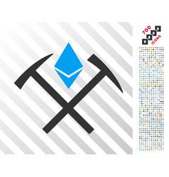 Ethereum mining hammers flat icon with bonus vector