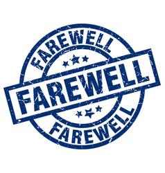 Farewell blue round grunge stamp vector