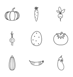 Farm vegetables icons set outline style vector image