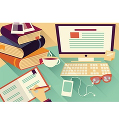 Flat design objects work desk office desk books vector