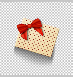 Gift box with red ribbon isolated on transparent vector