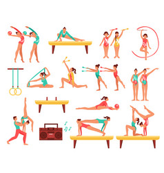 Gymnastics and actobatics decorative icons set vector