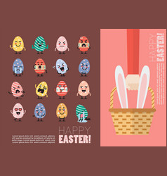 happy easter postcard set vector image vector image