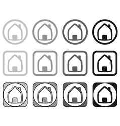 Home icon set in different shape isolated on white vector image vector image