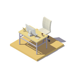 Isometric office workplace beige tones vector