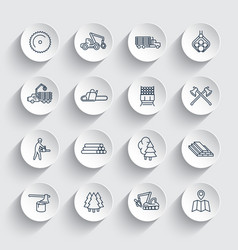 Logging line icons sawmill forestry equipment vector
