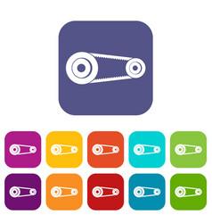 Mechanic belt icons set flat vector
